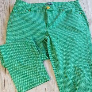 💎CYNTHIA ROWLEY POLKA DOT CROPPED GREEN PANTS